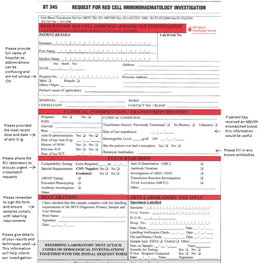 Rci Test Request Forms  Irish Blood Transfusion Service